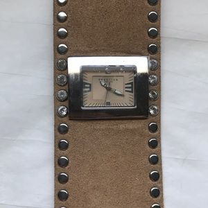 Reaction Kenneth Cole tan leather cuff watch